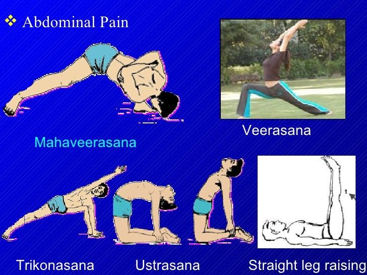 <ul><li>Abdominal Pain  </li></ul>Mahaveerasana Veerasana  Trikonasana Straight leg raising Ustrasana