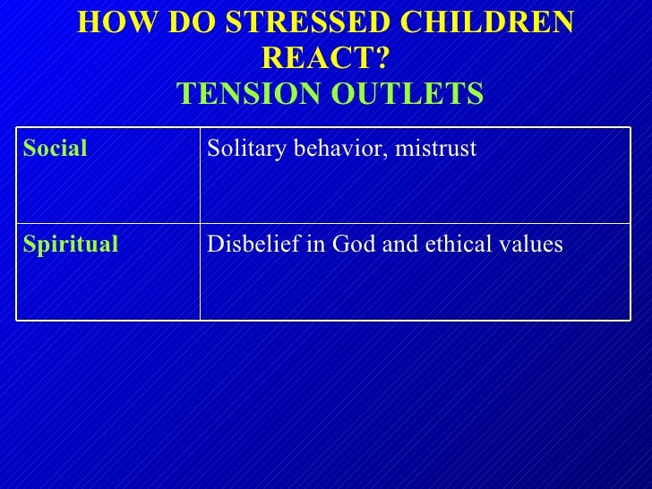 HOW DO STRESSED CHILDREN REACT?   TENSION OUTLETS Disbelief in God and ethical values Spiritual   Solitary behavior, mistr...