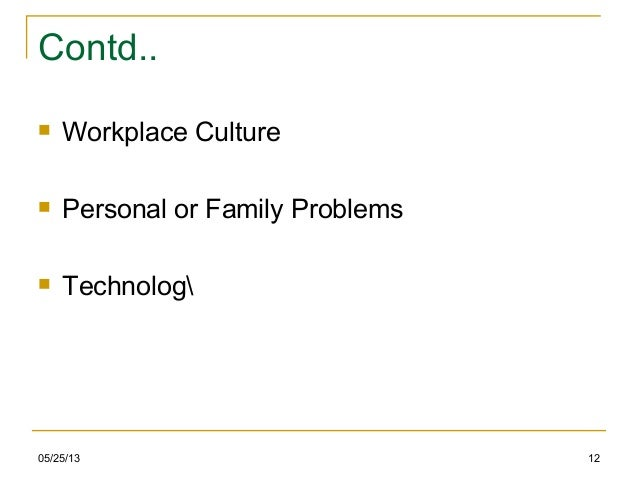 05/25/13 12Contd.. Workplace Culture Personal or Family Problems Technolog