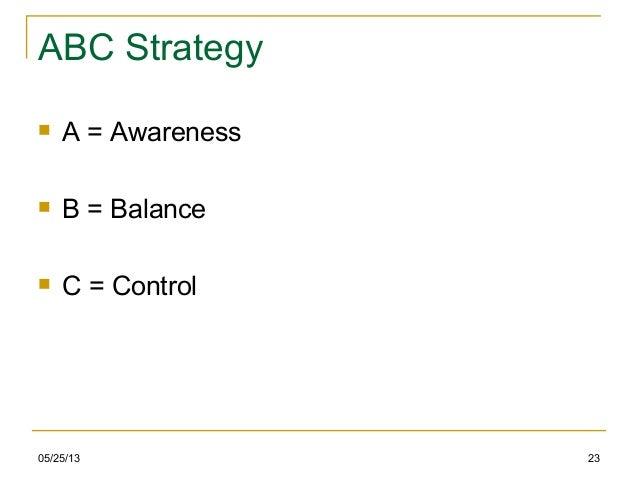 ABC Strategy A = Awareness B = Balance C = Control05/25/13 23