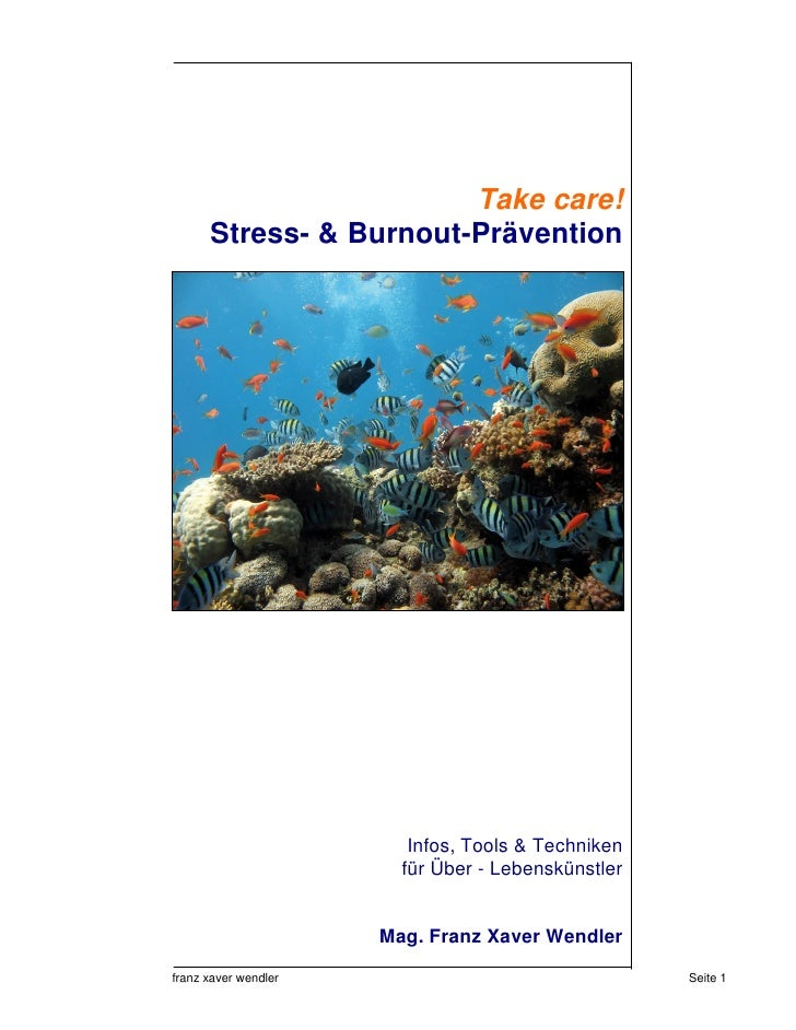Take care!       Stress- & Burnout-Prävention                              Infos, Tools & Techniken                       ...