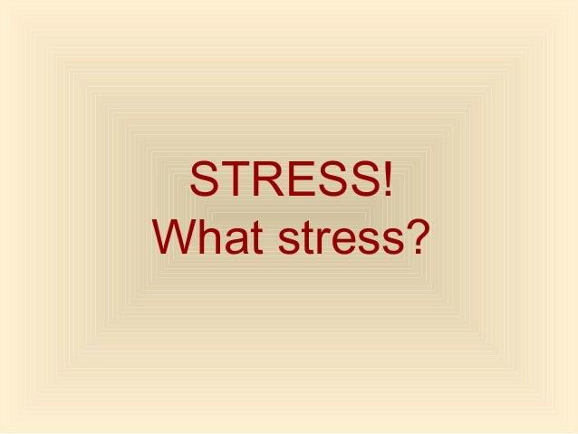 STRESS! What stress?