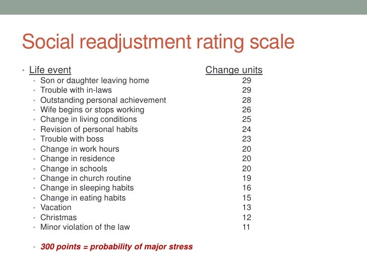 social readjustment scale