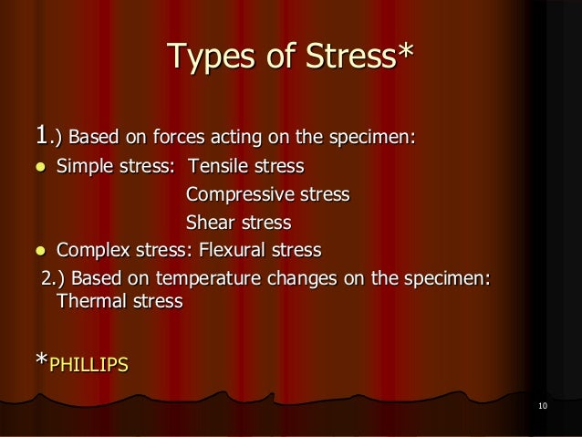 Types of Stress*1.) Based on forces acting on the specimen: Simple stress: Tensile stressCompressive stressShear stress ...