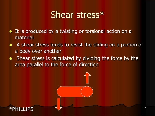 Shear stress* It is produced by a twisting or torsional action on amaterial. A shear stress tends to resist the sliding ...