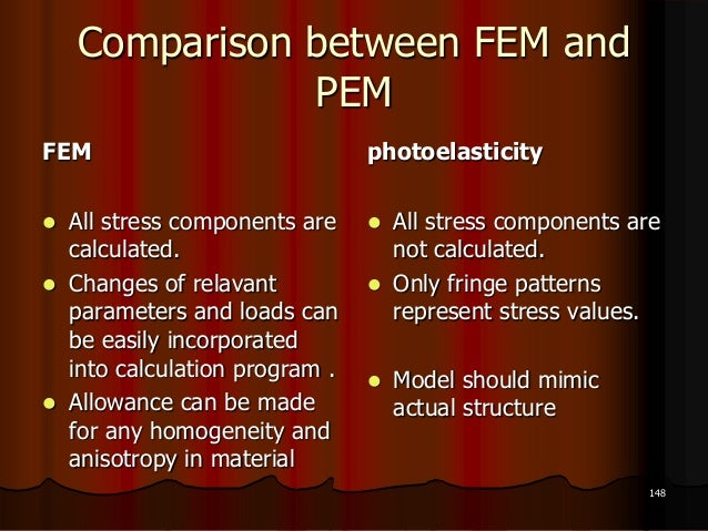 Comparison between FEM andPEMFEM All stress components arecalculated. Changes of relavantparameters and loads canbe easi...