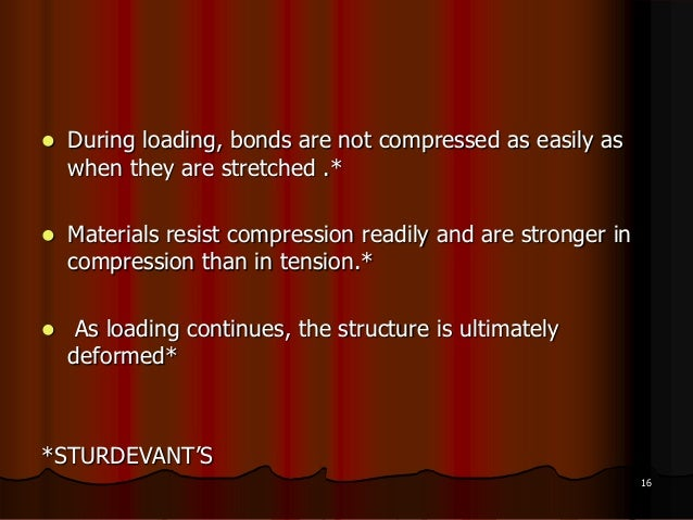  During loading, bonds are not compressed as easily aswhen they are stretched .* Materials resist compression readily an...
