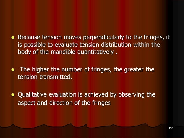  Because tension moves perpendicularly to the fringes, itis possible to evaluate tension distribution within thebody of t...