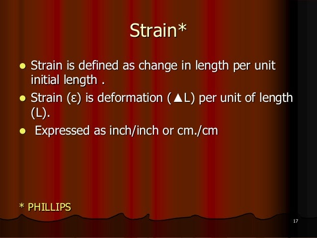 Strain* Strain is defined as change in length per unitinitial length . Strain (ε) is deformation (▲L) per unit of length...