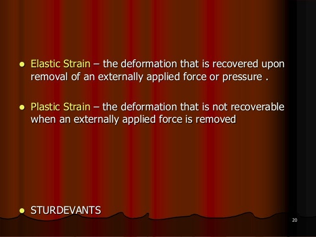  Elastic Strain – the deformation that is recovered uponremoval of an externally applied force or pressure . Plastic Str...