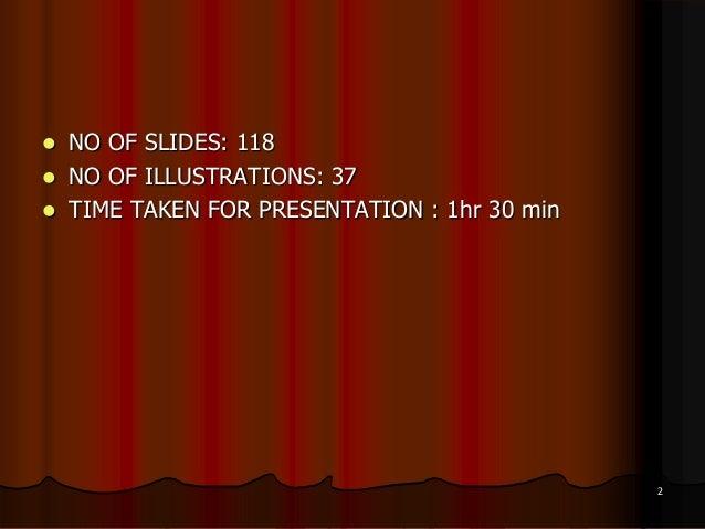  NO OF SLIDES: 118 NO OF ILLUSTRATIONS: 37 TIME TAKEN FOR PRESENTATION : 1hr 30 min2