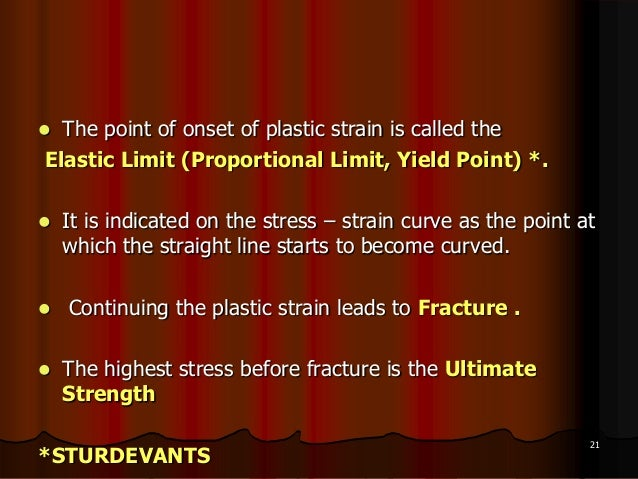  The point of onset of plastic strain is called theElastic Limit (Proportional Limit, Yield Point) *. It is indicated on...