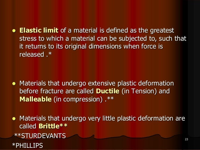  Elastic limit of a material is defined as the greateststress to which a material can be subjected to, such thatit return...