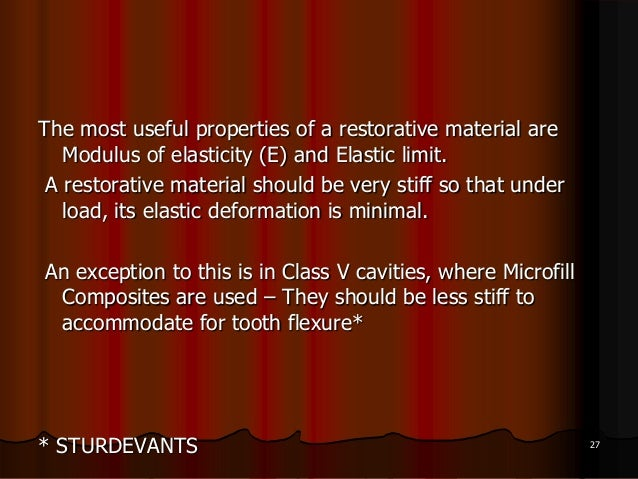The most useful properties of a restorative material areModulus of elasticity (E) and Elastic limit.A restorative material...