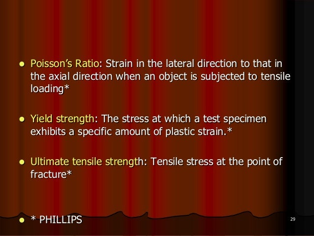  Poisson's Ratio: Strain in the lateral direction to that inthe axial direction when an object is subjected to tensileloa...