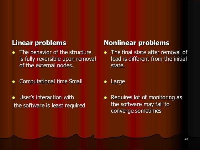 Linear problems The behavior of the structureis fully reversible upon removalof the external nodes. Computational time S...