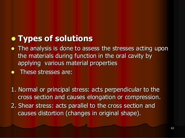  Types of solutions The analysis is done to assess the stresses acting uponthe materials during function in the oral cav...