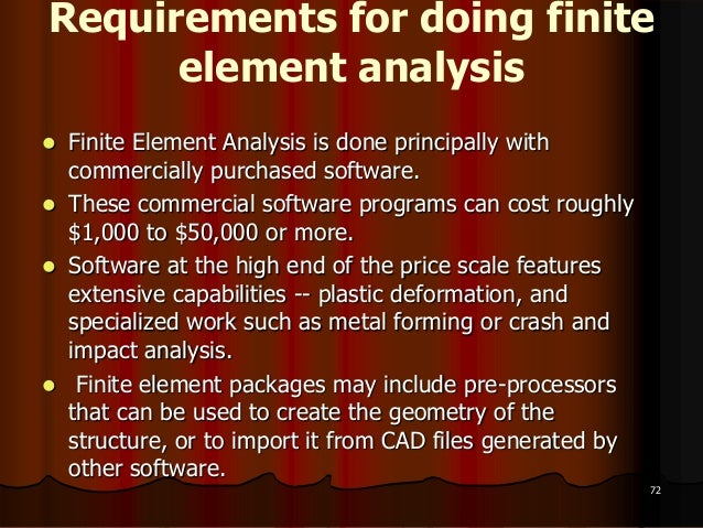 Requirements for doing finiteelement analysis Finite Element Analysis is done principally withcommercially purchased soft...
