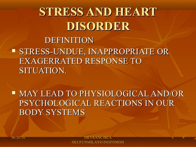 Stress and heart disorders