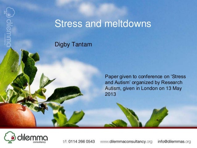 Stress and meltdownsDigby TantamPaper given to conference on 'Stressand Autism' organized by ResearchAutism, given in Lond...