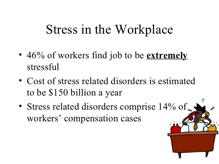 Stress in the Workplace <ul><li>46% of workers find job to be  extremely  stressful </li></ul><ul><li>Cost of stress relat...