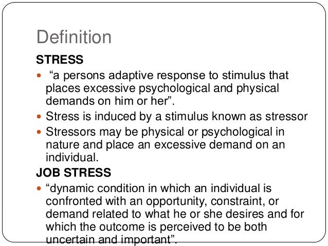 a definition and discussion of stress Stress definition, importance attached to a thing: to lay stress upon good manners see more.
