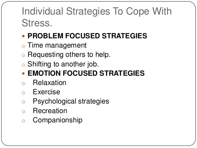 Stress Management And Strategies To Cope With Individual And Organisa
