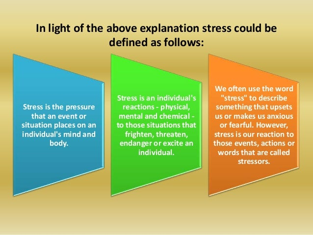 perceived stress levels and stress management The perceived stress scale was developed to measure the degree to which  and increased risk for disease among persons with higher perceived stress levels for.