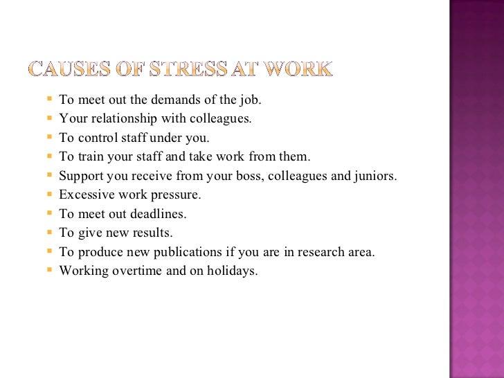 <ul><ul><li>To meet out the demands of the job. </li></ul></ul><ul><ul><li>Your relationship with colleagues. </li></ul></...