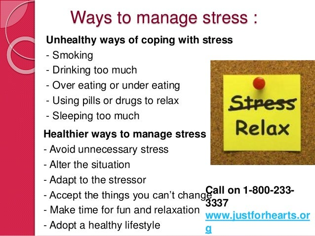 ways to manage stress Stress management is all about taking charge: of your lifestyle, thoughts,  emotions, and the way you deal with problems no matter how stressful your life  seems,.