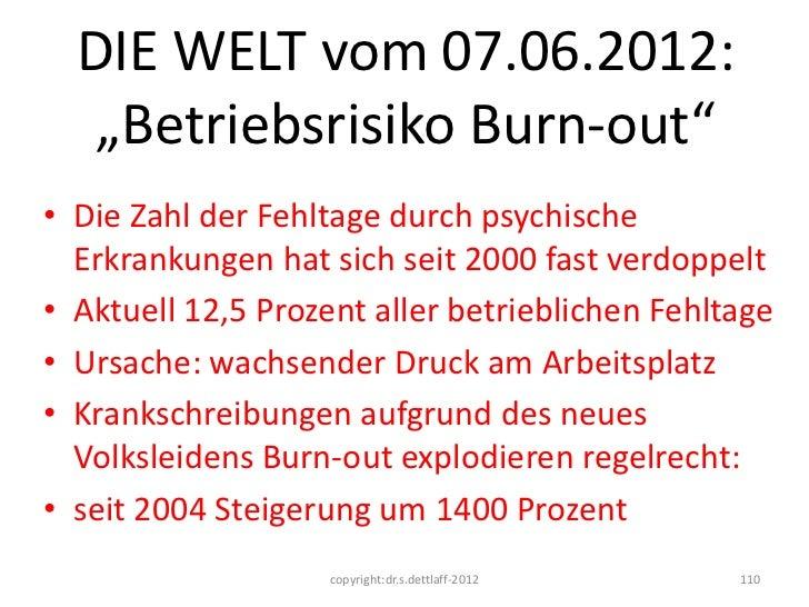 """DIE WELT vom 07.06.2012:   """"Betriebsrisiko Burn-out""""• Die Zahl der Fehltage durch psychische  Erkrankungen hat sich seit 2..."""