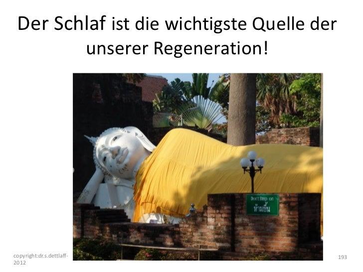 Der Schlaf ist die wichtigste Quelle der                           unserer Regeneration!copyright:dr.s.dettlaff-          ...