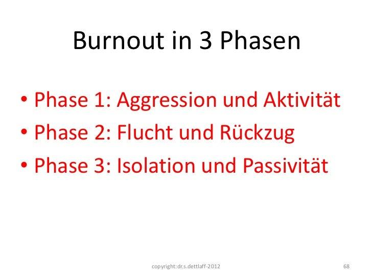 Burnout in 3 Phasen• Phase 1: Aggression und Aktivität• Phase 2: Flucht und Rückzug• Phase 3: Isolation und Passivität    ...