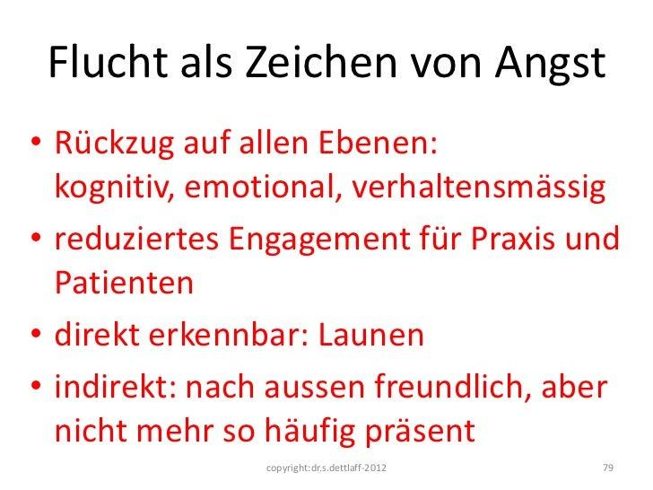 Flucht als Zeichen von Angst• Rückzug auf allen Ebenen:  kognitiv, emotional, verhaltensmässig• reduziertes Engagement für...