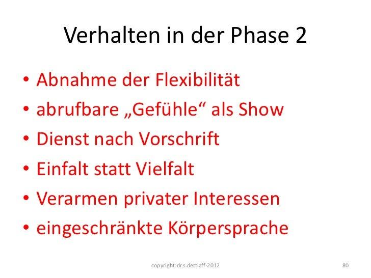 """Verhalten in der Phase 2•   Abnahme der Flexibilität•   abrufbare """"Gefühle"""" als Show•   Dienst nach Vorschrift•   Einfalt ..."""
