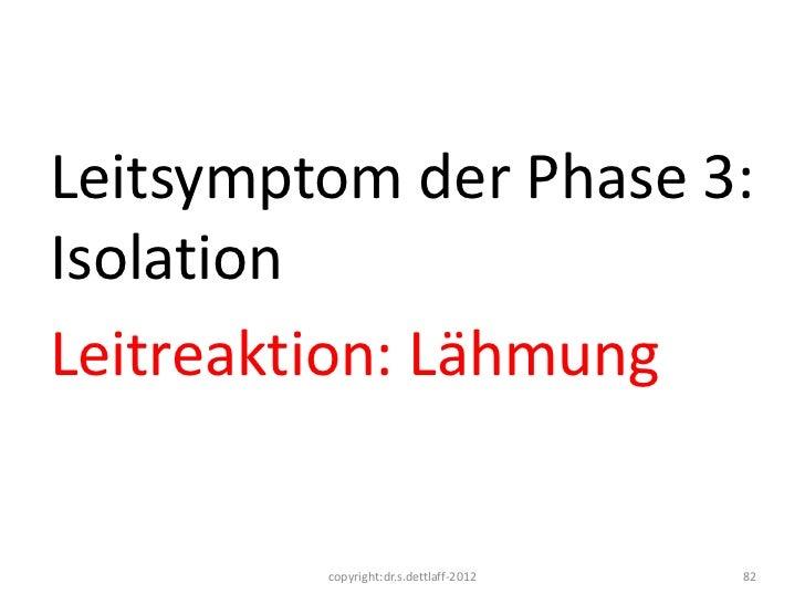 Leitsymptom der Phase 3:IsolationLeitreaktion: Lähmung         copyright:dr.s.dettlaff-2012   82