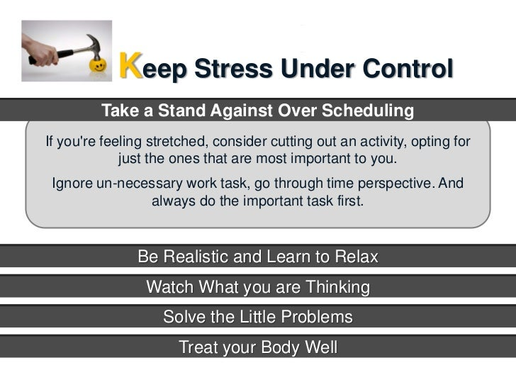 time and stress mgmt Stress management strategies #1: avoid unnecessary stress  physical activity plays a key role in reducing and preventing the effects of stress make time for at.