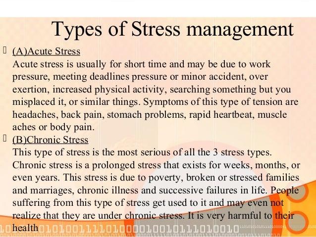 Advantages of stress management Business advantages of stress management:  Less absenteeism due to stressrelated disorder...
