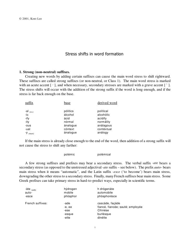 © 2001, Kent Lee                                     Stress shifts in word formation    1. Strong (non-neutral) suffixes. ...