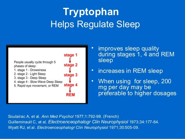 Tryptophan Helps Regulate Sleep • improves sleep quality during stages 1, 4 and REM sleep • increases in REM sleep • When ...