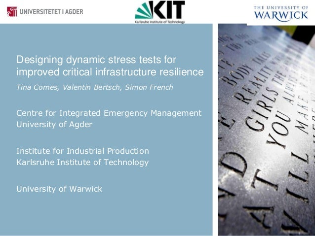 Designing dynamic stress tests forimproved critical infrastructure resilienceTina Comes, Valentin Bertsch, Simon FrenchCen...