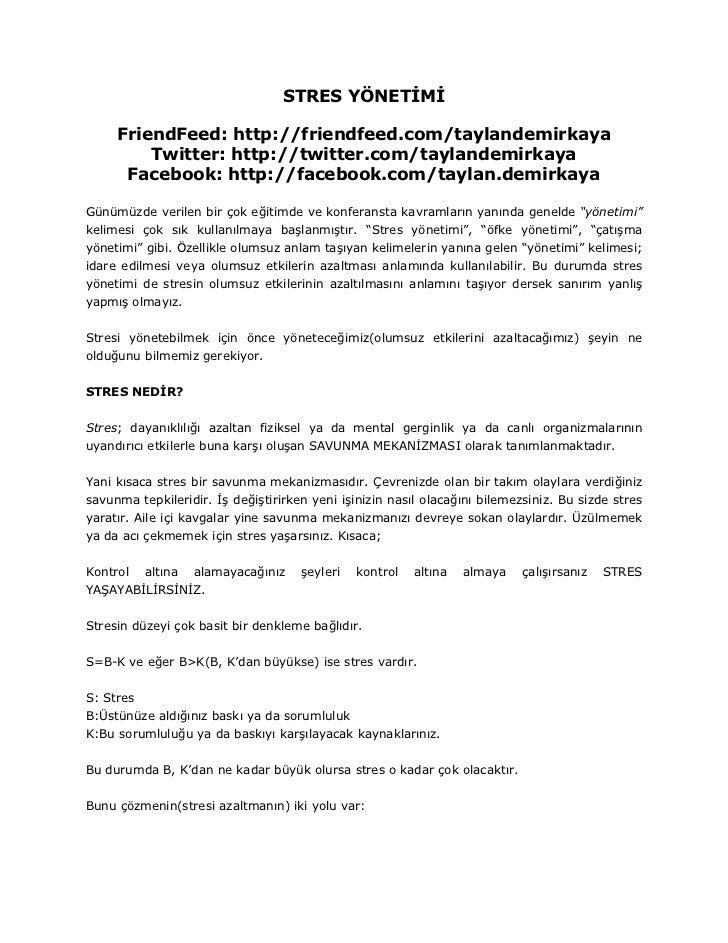 STRES YÖNETİMİ       FriendFeed: http://friendfeed.com/taylandemirkaya          Twitter: http://twitter.com/taylandemirkay...