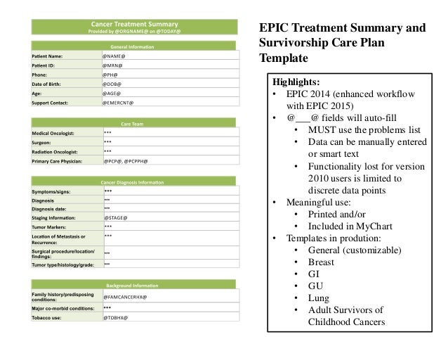 Appendix E Template For Cancer Survivorship Care Plan Tested Care