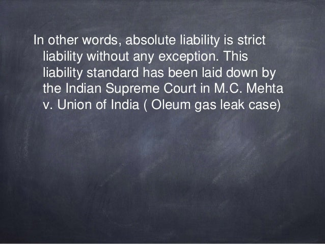 Absolute liability in torts in india