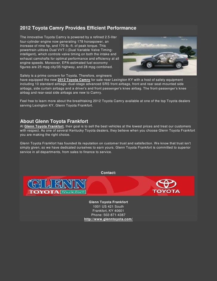 2. 2012 Toyota ...