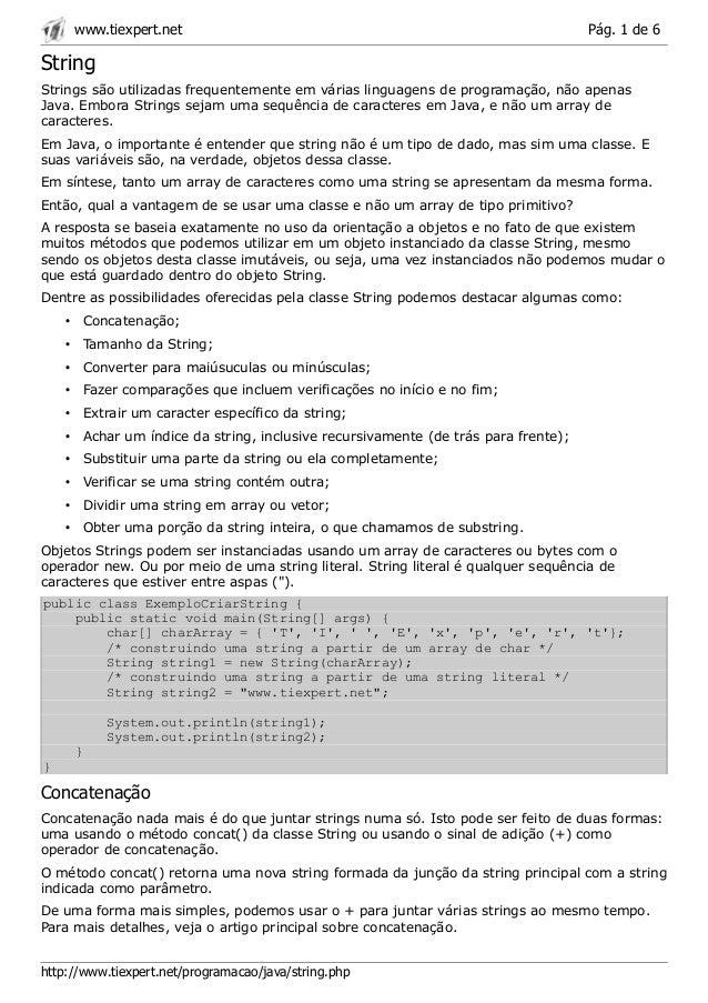 www.tiexpert.net                                                              Pág. 1 de 6StringStrings são utilizadas freq...