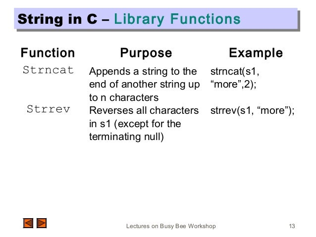 Lectures on Busy Bee Workshop 13 String in C – Library FunctionsString in C – Library Functions Function Purpose Example S...