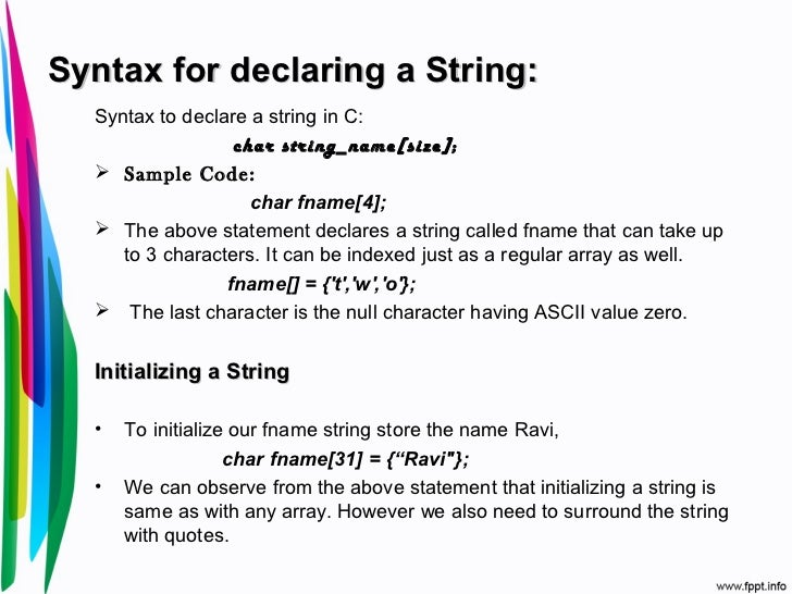 String & its application