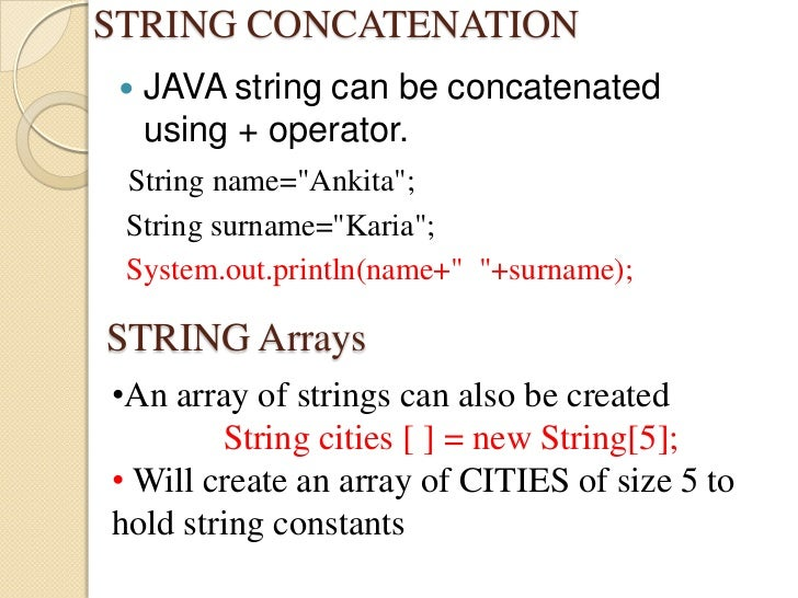 write a string constant in java