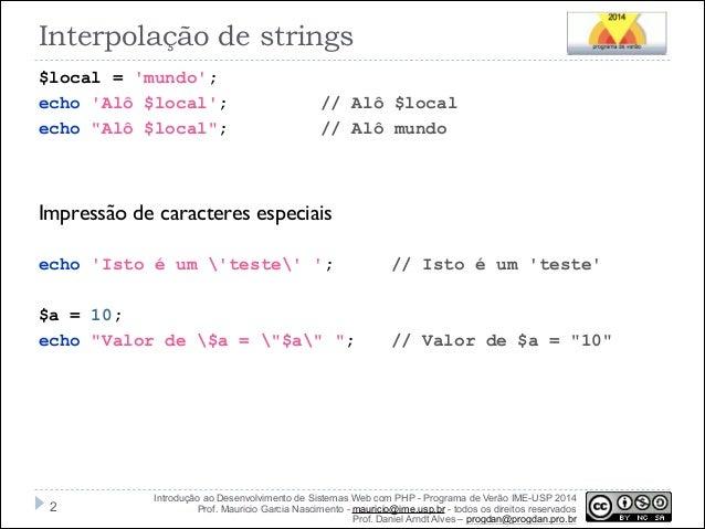 Strings, Arrays e Manipulação Datas em PHP Slide 2